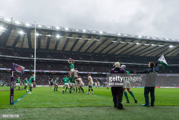 Ireland's Iain Henderson claims the lineout during the NatWest Six Nations Championship match between England and Ireland at Twickenham Stadium on...