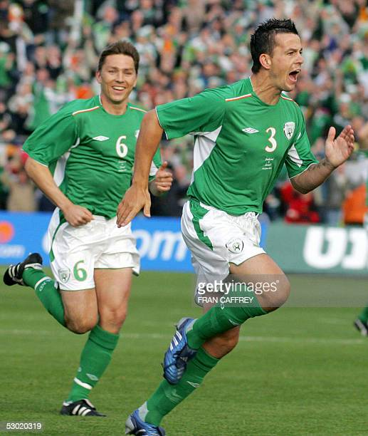 Ireland's Ian Harte celebrates after scoring a goal against Israel during their World Cup Qualifier football match at Lansdowne Road Stadium in...
