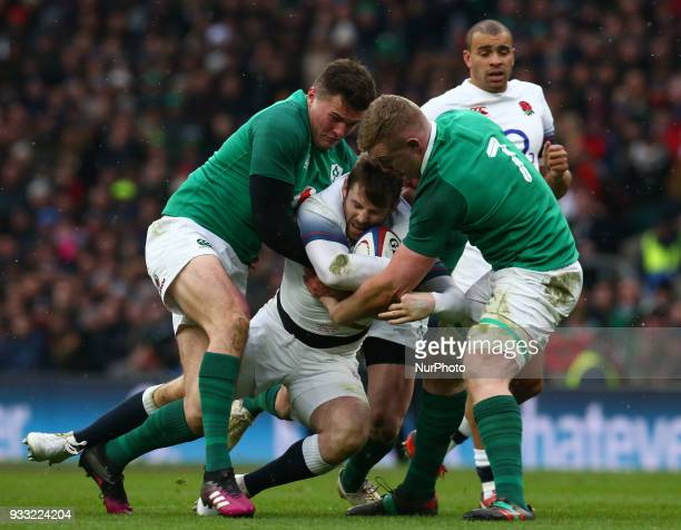 LR Ireland's Jacob Stockdale and Ireland's Dan Leavy during NatWest 6 Nations match between England against Ireland at Twickenham stadium London on...