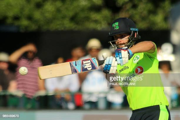Ireland's James Shannon plays a shot during the Twenty20 International cricket match between Ireland and India at Malahide cricket club in Dublin on...