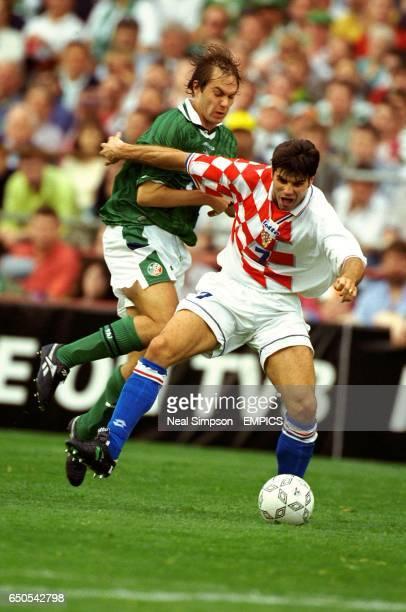 Ireland's Jason McAteer clashes with Croatia's Aljosa Asanovic