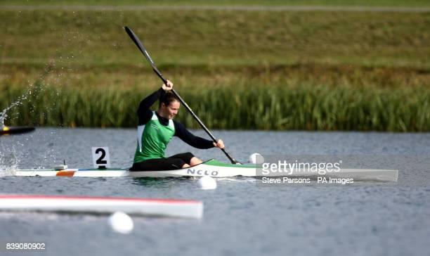 Ireland's Jenny Egan competes in the Kayak single 100m heat during the London Canoe Sprint Invitational International Regatta at Eton Dorney Windsor