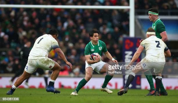 Ireland's Joey Carbery during NatWest 6 Nations match between England against Ireland at Twickenham stadium London on 17 Mar 2018