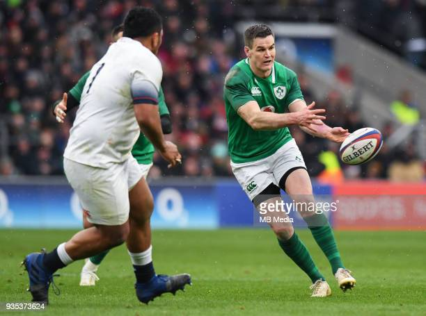 Ireland's Johnny Sexton in action during the NatWest Six Nations Championship match between England and Ireland at Twickenham Stadium on March 17...