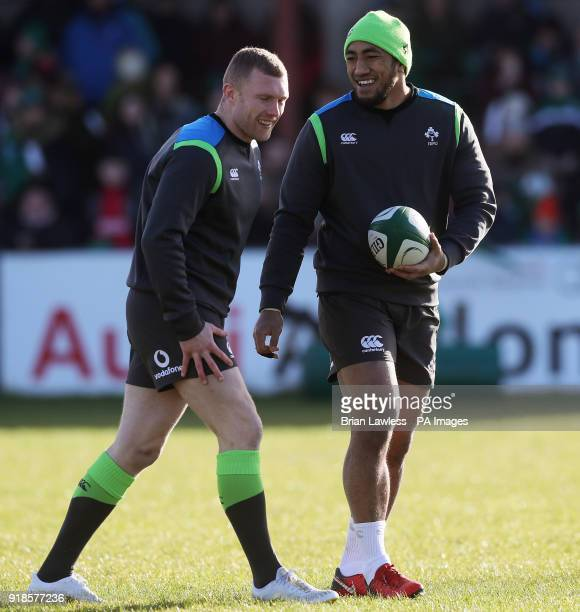 Ireland's Keith Earls and Bundee Aki during a training session at Buccaneers RFC Athlone