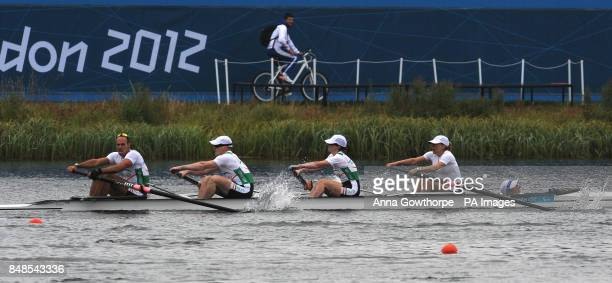 Ireland's Kevin du Toit Shane Ryan Sarah Caffrey AnneMarie McDaid and cox Helen Arbuthnot in action during the LTA Mixed Coxed Four B Final race at...