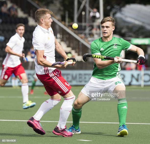 Ireland's Lee Cole vies with England's Sam Ward during Rabo EuroHockey Championships 2017 on Agust 23 2017 in Amstelveen PHOTO / ANP / Koen Suyk /...
