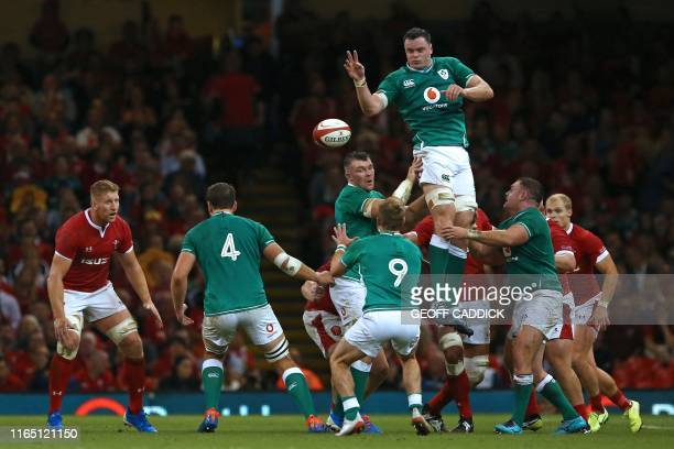 Ireland's lock James Ryan wins lineout ball during the international Test rugby union match between Wales and Ireland at Principality Stadium in...