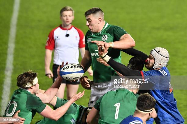 Ireland's Matthew Dalton catches the ball in a lineout during the Six Nations U20 rugby match France versus Ireland on February 2 2018 at the...