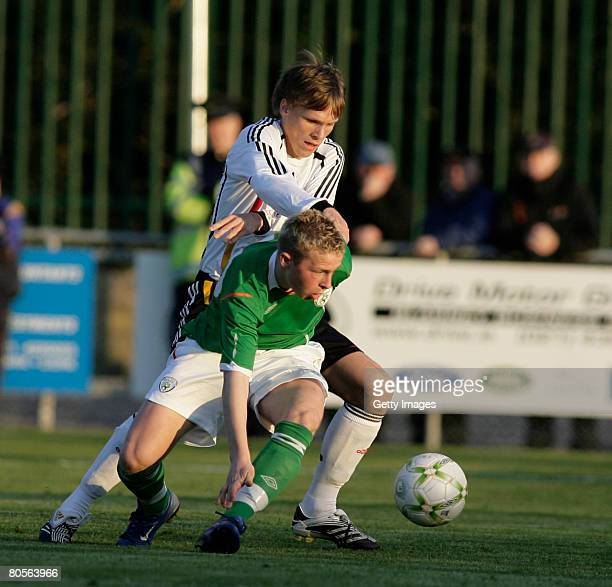 Ireland's Michael Rafter and Germany's Gerrit Nauber during the U16 International friendly Ireland vs Germany at O'Shea Park on April 08 2008 in Cork...