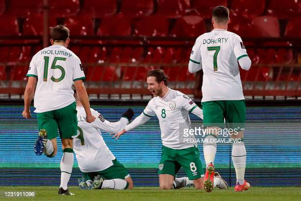 Ireland's midfielder Alan Browne celebrates after scoring a goal during the FIFA World Cup Qatar 2022 Group A qualification football match between...