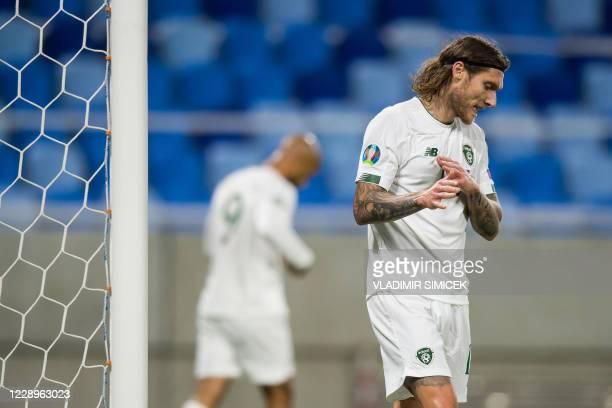 Ireland's midfielder Jeffrey Hendrick reacts during the Euro 2020 play-off semi-final football match between between Slovakia and Republic of Ireland...