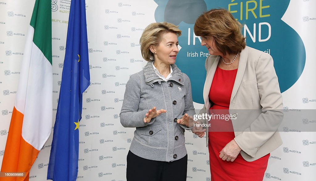 Ireland's Minister for Social Protection, Joan Burton, T.D (R) with German Labour Minister Ursula von der Leyen attend the second plenary session of the Informal Meeting of Ministers for Employment and Social Affairs (EPSCO) on February 8, 2013 in Dublin Castle, Dublin, Ireland.