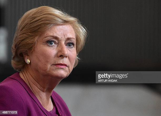 Ireland's newlyappointed Justice Minister Frances Fitzgerald speaks during a press conference in Dublin on May 8 2014 The former social worker and...