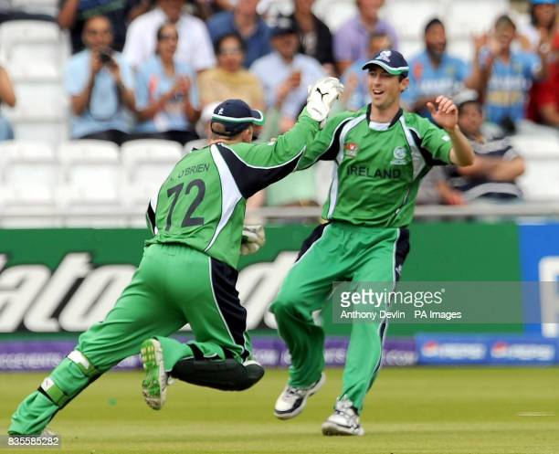 Ireland's Niall O'Brien celebrates catching Sri Lanka's TM Dilshan during the ICC World Twenty20 Super Eights match at Lord's London