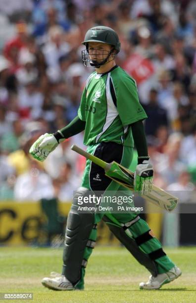Ireland's Niall O'Brien leaves the field after being caught and bowled by Pakistan's Mohammad Aamir during the ICC World Twenty20 Super Eights match...