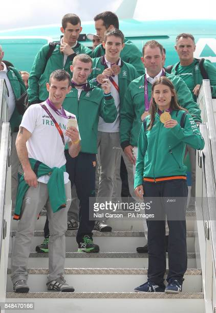 Ireland's Olympic Medal winners John Joe Nevin Paddy Barnes Michael Conlon Cian O'Connor and Katie Tayor arrive with the rest of the Irish team at...