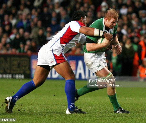 Ireland's Paul O'Connell clashes with the Pacific Islands' Epi Taione during the International match at Lansdowne Road Dublin