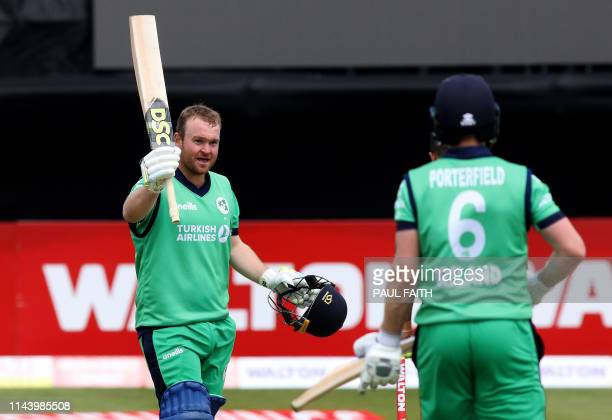 Ireland's Paul Stirling celebrates his century during the TriNation Series oneday international between Ireland and Bangladesh at the Clontarf...