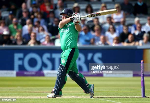 Ireland's Paul Stirling hits out during the Royal London ODI between England and Ireland at Lord's Cricket Ground on May 7 2017 in London England