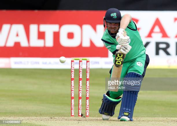 Ireland's Paul Stirling plays a shot on his way to reaching his century during the TriNation Series oneday international between Ireland and...