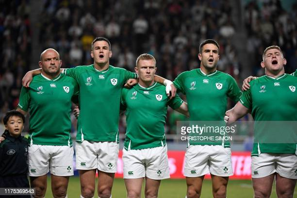 Ireland's players sing their national anthem before the Japan 2019 Rugby World Cup Pool A match between Ireland and Samoa at the Fukuoka Hakatanomori...