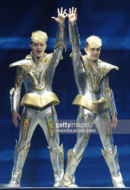 Ireland's pop duo Jedward performs performs during the dress rehearsal of the Grand Final of the Eurovision 2012 song contest in the Azerbaijan's...
