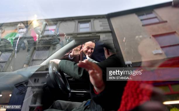 Ireland's Prime Minister and leader of the Fine Gael party Leo Varadkar shakes the hand of a driver who stopped his car to share his support in Ennis...