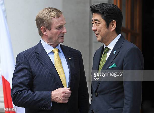 Ireland's Prime minister Enda Kenny welcomes Japanese Prime Minister of Japan Shinzo Abe upon arrival for a meeting in Dublin, Ireland, on June 19,...