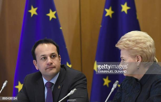 Ireland's Prime minister Leo Varadkar and Lithuania's President Dalia Grybauskaite take part with fellow EU leaders in a meeting with EU's chief...
