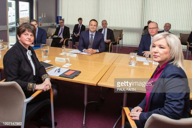Ireland's Prime Minister, Leo Varadkar and Northern Ireland's First Minister, Arlene Foster and Northern Ireland Deputy First Michelle O'Neill...
