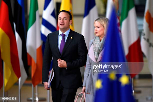 Ireland's Prime minister Leo Varadkar arrives at the European Council headquarter on the second day of a summit of European Union leaders on March 23...
