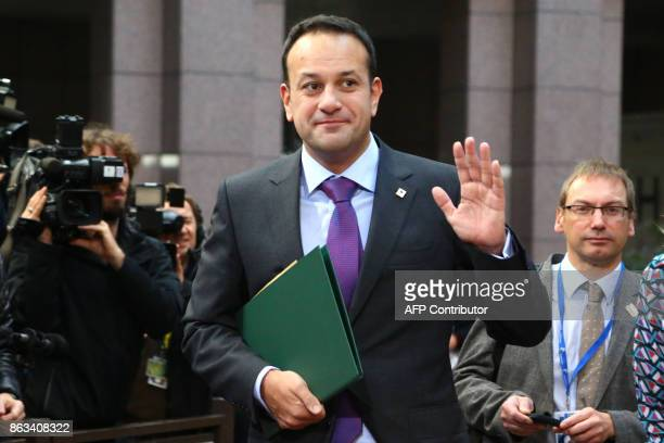 Ireland's Prime minister Leo Varadkar arrives on the second day of a summit of European Union leaders in Brussels on October 20 2017 The EU is...