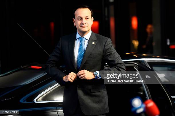 Ireland's Prime minister Leo Varadkar arrives to attend the European Social Summit in Gothenburg Sweden on November 17 2017 / AFP PHOTO / Jonathan...