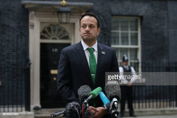 Ireland's Prime Minister Leo Varadkar briefs the press at 10 Downing Street after meeting with Britain's Prime Minister Theresa May in central London...