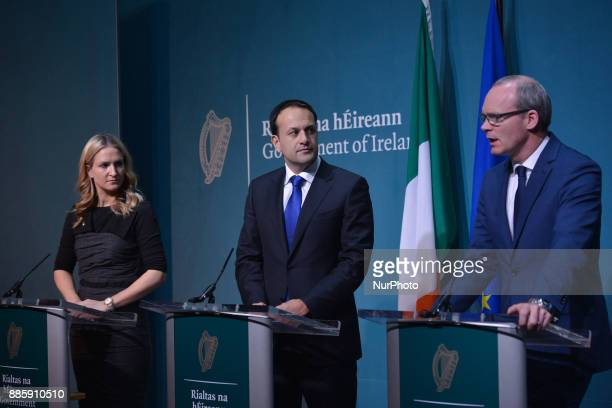 Ireland's prime minister Leo Varadkar joined by the deputy PM and Minister for Foreign Affairs and Trade Simon Coveney and the Minister of State for...