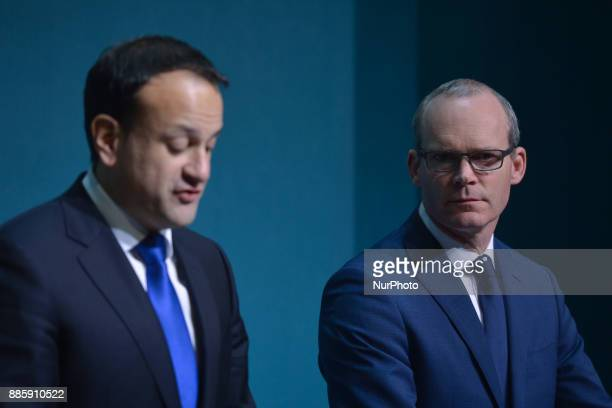 Ireland's prime minister Leo Varadkar joined by the deputy PM and Minister for Foreign Affairs and Trade Simon Coveney makes a statement on Phase I...