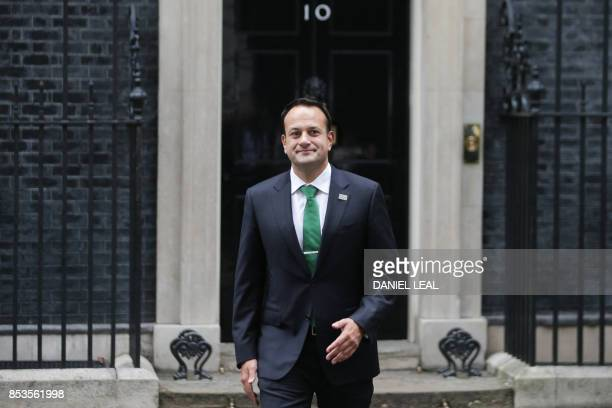 Ireland's Prime Minister Leo Varadkar leaves 10 Downing Street after meeting with Britain's Prime Minister Theresa May in central London on September...
