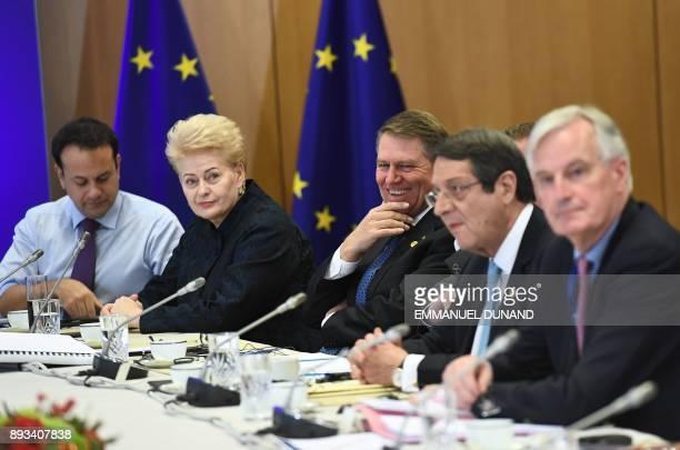 Ireland's Prime minister Leo Varadkar Lithuania's President Dalia Grybauskaite Romania's President Klaus Werner Iohannis Cyprus' President Nicos...