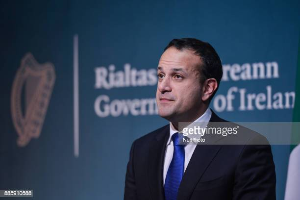 Ireland's prime minister Leo Varadkar makes a statement on Phase I of the Brexit negotiations On Monday 4 December 2017 in Dublin Ireland