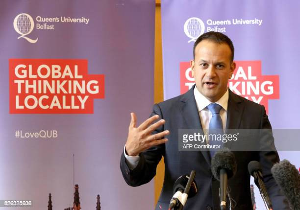Ireland's Prime Minister Leo Varadkar speaks during a press conference at Queen's University in Belfast on August 4 2017 Brexit is 'the challenge of...