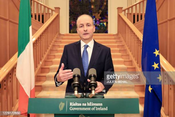Ireland's Prime Minister Micheal Martin addresses the Irish nation at Government Buildings in Dublin on October 19, 2020. - Ireland will be the first...