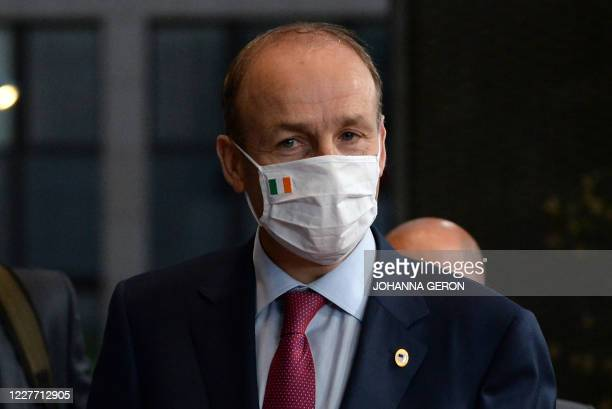Ireland's Prime Minister Micheal Martin after a last roundtable discussion following a four days European summit at the European Council in Brussels...