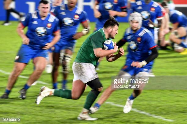 Ireland's prop Daniel Brennan runs with the ball during the Six Nations U20 rugby match France versus Ireland on February 2 2018 at the ChabanDelmas...
