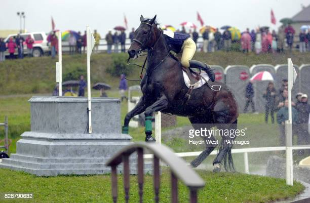 Ireland's Rebecca George riding Wee Hot Toddy fails at the island jump at fence twenty which also involves a jump into water from a tunnel in the...