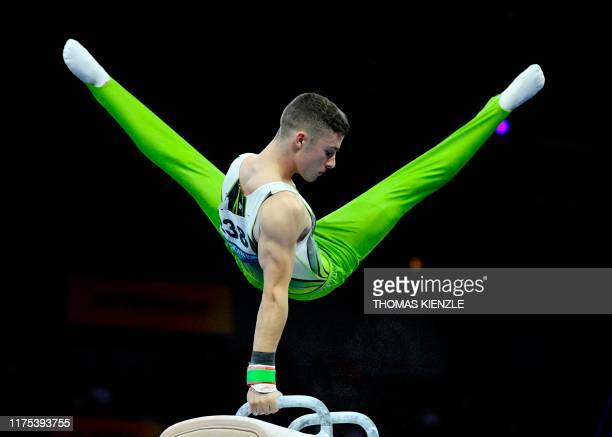 Ireland's Rhys Mcclenaghan performs at the pommel horse during the apparatus finals at the FIG Artistic Gymnastics World Championships at the...