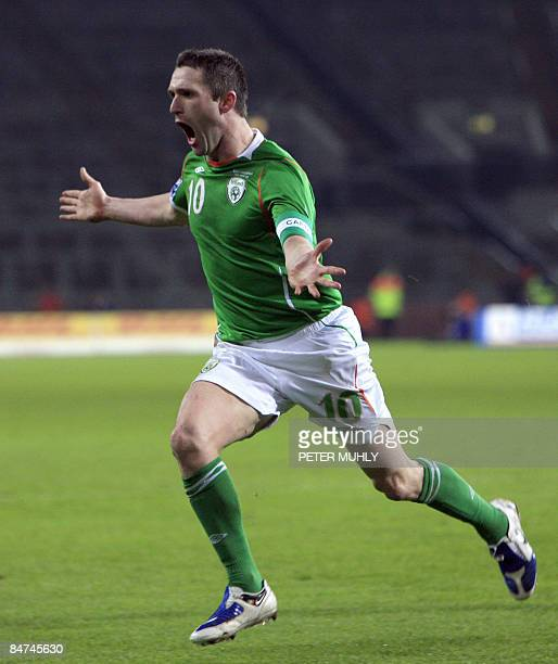 Ireland's Robbie Keane reacts after scoring a second goal against Georgia during a world cup qualifing football match at Croke Park in Dublin Ireland...