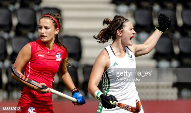 Ireland's Roisin Upton celebrates after scoring during the 2017 EuroHockey Championships field hockey match between the Czech Republic and Ireland in...