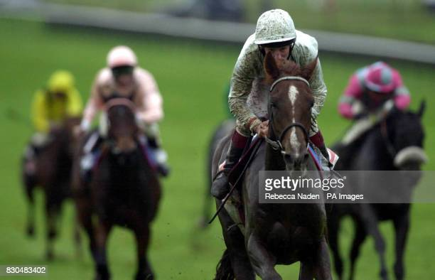 Ireland's Romantic Affair and jockey Richard Quinn win the NGK Spark Plugs Stubbs Rated Stakes at Newmarket Races