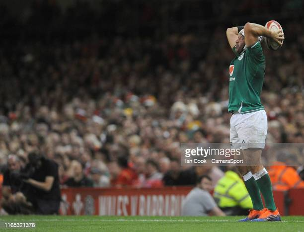 Irelands Rory Best prepares to throw the ball into the lineout during the 2019 Under Armour Summer Series match between Wales and Ireland at...
